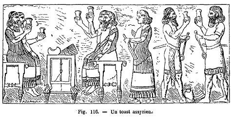 Dessin représentant des Assyriens trinquant dans un bar