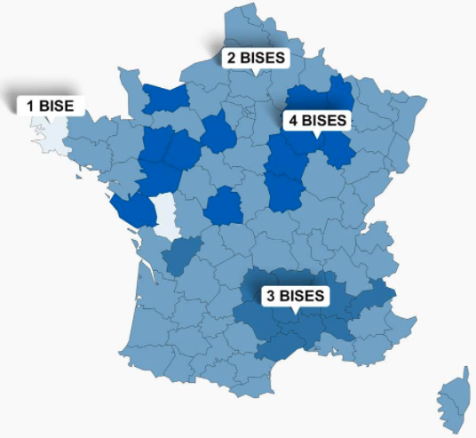 Carte de France indiquant le nombre de bises par région