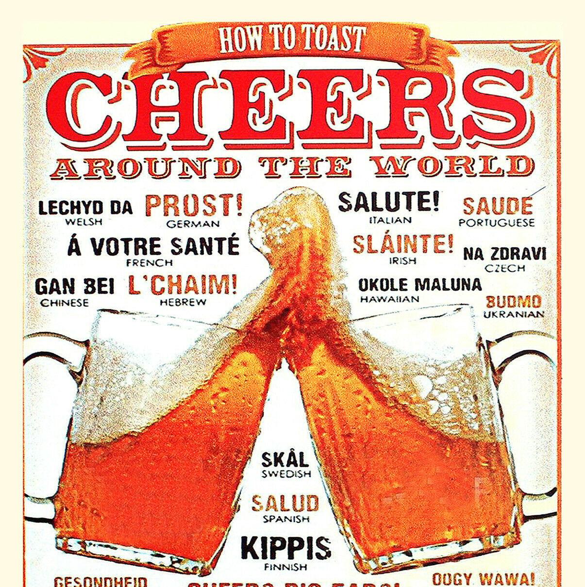 Image d'une carte postale à l'ancienne avec 2 bières qui trinquent